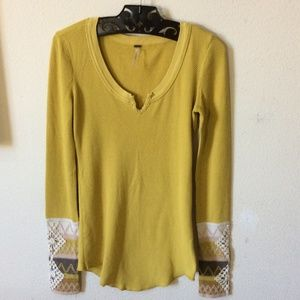 Free People Golden Yellow Thermal Lace Wrist Hems